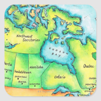 Mapa de Canadá Pegatina Cuadrada