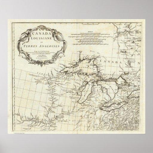 Mapa de Canadá que ofrece pueblos del nativo ameri Poster