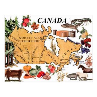 Mapa de Canadá y de los diversos productos represe Postal