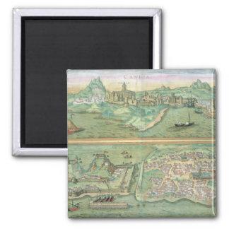 Mapa de Candia y de Corfú, de 'Civitates Orbis Ter Imán Cuadrado