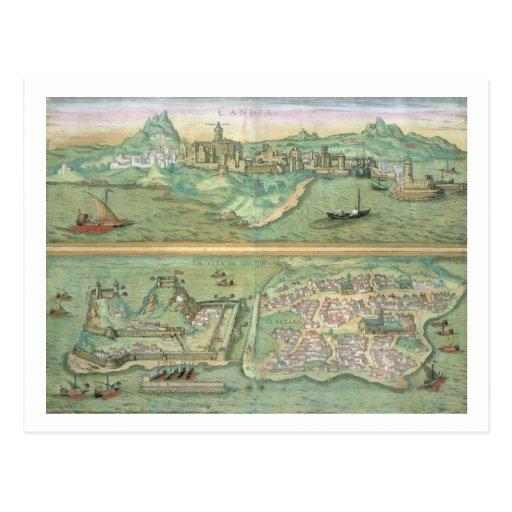 Mapa de Candia y de Corfú, de 'Civitates Orbis Ter Postal
