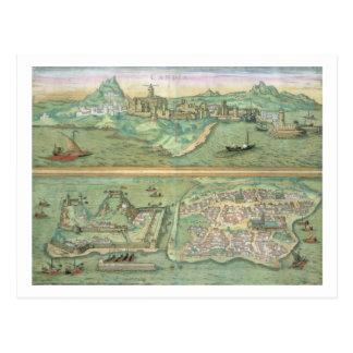 Mapa de Candia y de Corfú, de 'Civitates Orbis Ter Tarjetas Postales