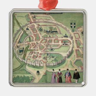Mapa de Cantorbery, de 'Civitates Orbis Terrarum Adorno Cuadrado Plateado