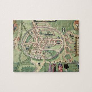 Mapa de Cantorbery, de 'Civitates Orbis Terrarum Rompecabeza