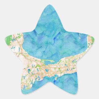 Mapa de Cape Cod de la acuarela Pegatina En Forma De Estrella
