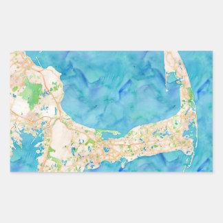 Mapa de Cape Cod de la acuarela Pegatina Rectangular