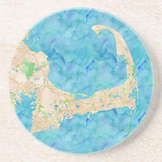 Mapa de Cape Cod de la acuarela Posavasos Diseño