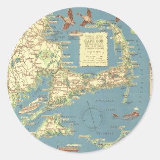Mapa de Cape Cod del vintage (1940) Pegatina Redonda
