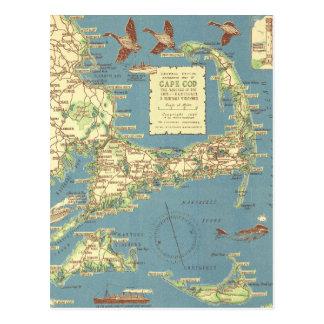 Mapa de Cape Cod del vintage (1940) Postales