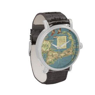 Mapa de Cape Cod del vintage (1940) Relojes De Mano