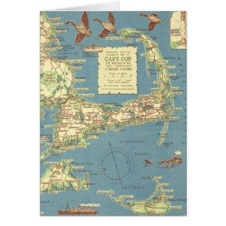 Mapa de Cape Cod del vintage (1940) Felicitacion