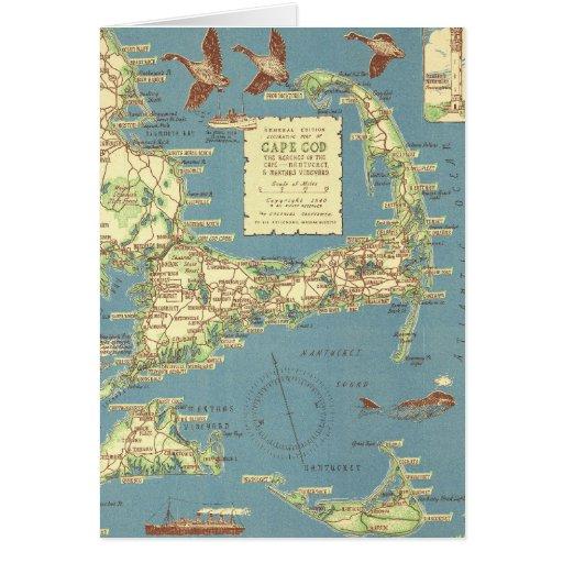 Mapa de Cape Cod del vintage (1940) Tarjeta De Felicitación