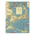 Mapa de Cape Cod del vintage (1940) Tarjetas Postales