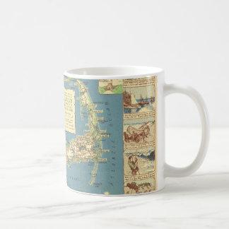 Mapa de Cape Cod del vintage (1940) Tazas