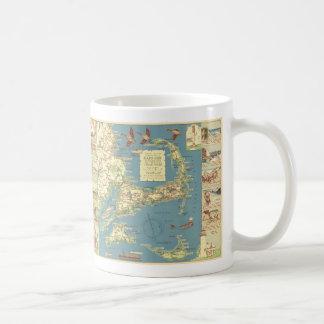 Mapa de Cape Cod del vintage (1940) Taza De Café