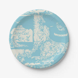 Mapa de Cape Cod del vintage Platos De Papel