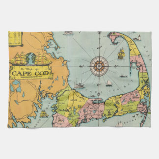 Mapa de Cape Cod del vintage Toallas De Mano