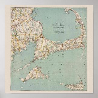 Mapa de Cape Cod, Massachusetts del vintage Póster