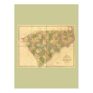 Mapa de Carolina del Norte 1839 y de Carolina del Tarjetas Postales