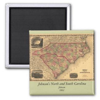 Mapa de Carolina del Norte 1861 y de Carolina del  Imán De Nevera