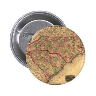 Mapa de Carolina del Norte 1861 y de Carolina del  Pin Redondo De 2 Pulgadas