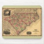 Mapa de Carolina del Norte 1861 y de Carolina del  Alfombrillas De Ratones