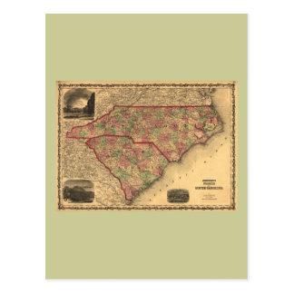 Mapa de Carolina del Norte 1861 y de Carolina del Tarjeta Postal
