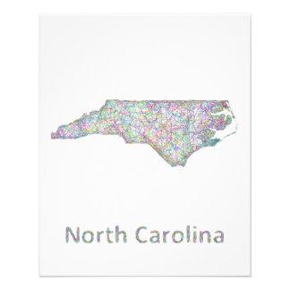 """Mapa de Carolina del Norte Folleto 4.5"""" X 5.6"""""""