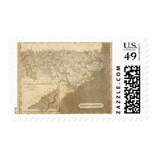 Mapa de Carolina del Norte por Arrowsmith Estampilla