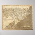 Mapa de Carolina del Norte por Arrowsmith Poster