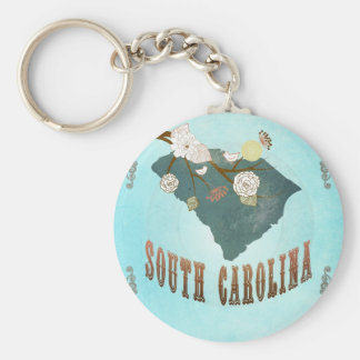Mapa de Carolina del Sur con los pájaros preciosos Llavero Redondo Tipo Pin