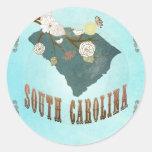 Mapa de Carolina del Sur con los pájaros preciosos Etiquetas Redondas