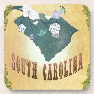Mapa de Carolina del Sur con los pájaros preciosos Posavaso