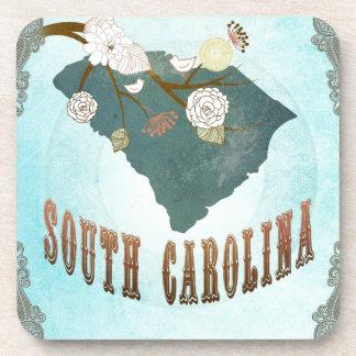 Mapa de Carolina del Sur con los pájaros preciosos Posavasos De Bebida