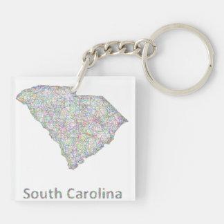 Mapa de Carolina del Sur Llavero Cuadrado Acrílico A Doble Cara