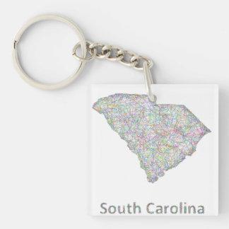 Mapa de Carolina del Sur Llavero Cuadrado Acrílico A Una Cara