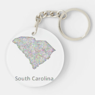 Mapa de Carolina del Sur Llavero Redondo Acrílico A Doble Cara