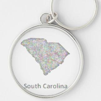 Mapa de Carolina del Sur Llavero Redondo Plateado