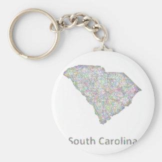 Mapa de Carolina del Sur Llavero Redondo Tipo Pin