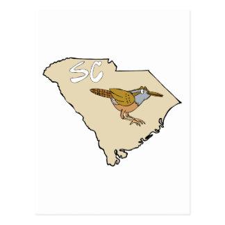 Mapa de Carolina del Sur y arte del dibujo animado Postal