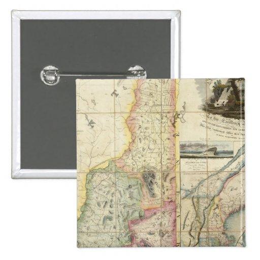 Mapa de Carrigain de New Hampshire Pin Cuadrado