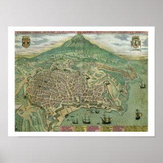 """Mapa de Catania, de """"Civitates Orbis Terrarum"""" cer Impresiones"""