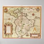 Mapa de central y de Suramérica Impresiones