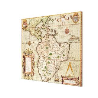 Mapa de central y de Suramérica Impresión En Lona Estirada