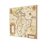 Mapa de central y de Suramérica Impresión En Lienzo Estirada