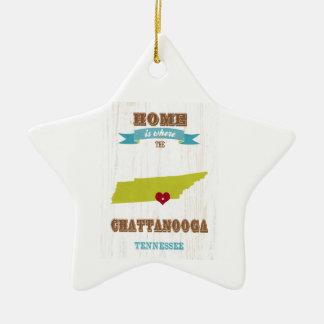 Mapa de Chattanooga, Tennessee - casero es donde Adorno De Cerámica En Forma De Estrella