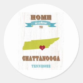 Mapa de Chattanooga, Tennessee - casero es donde Etiquetas Redondas