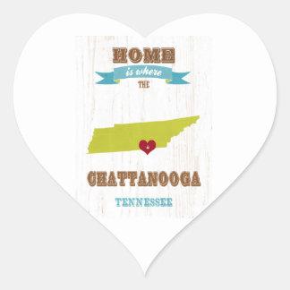 Mapa de Chattanooga, Tennessee - casero es donde Pegatina En Forma De Corazón