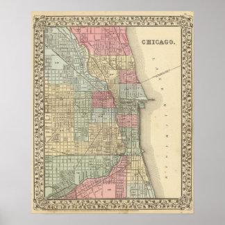 Mapa de Chicago de Mitchell Impresiones