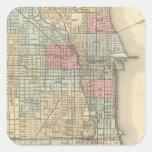 Mapa de Chicago de Mitchell Pegatina Cuadrada